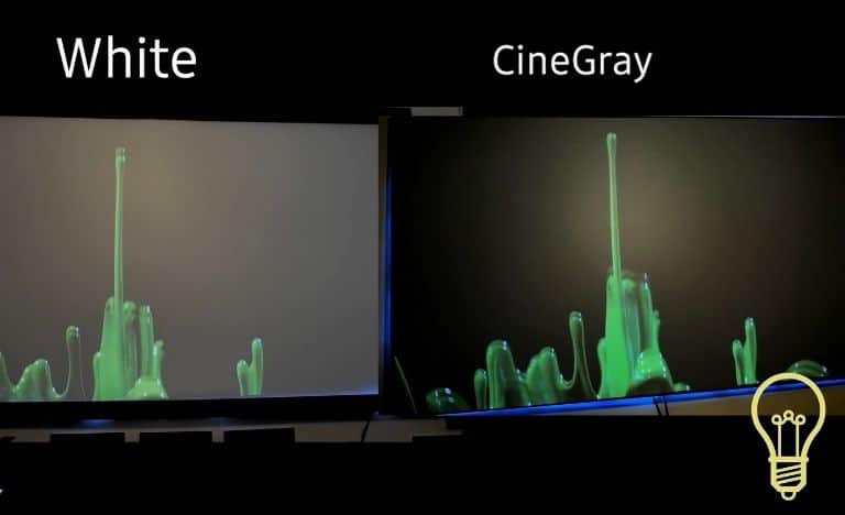 white vs grey projector screen comparison in the presence of ambient light